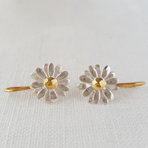Gold and Silver Daisy Drop Earrings two tone