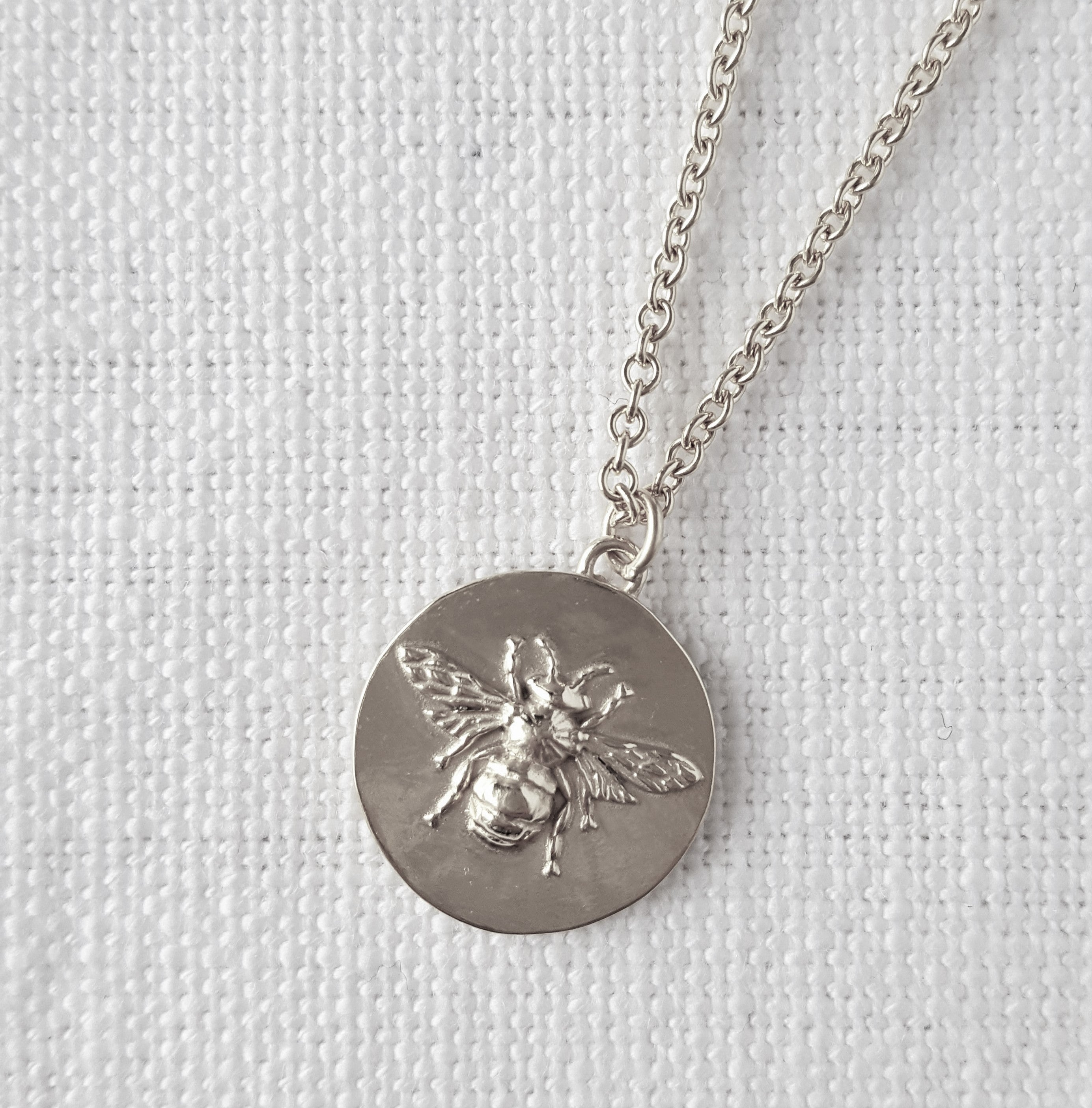 Silver Bee Disk Pendant