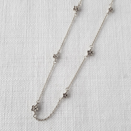 Silver Blossom Flower Bobble Necklace