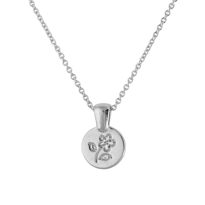 Silver Flower Coin Necklace