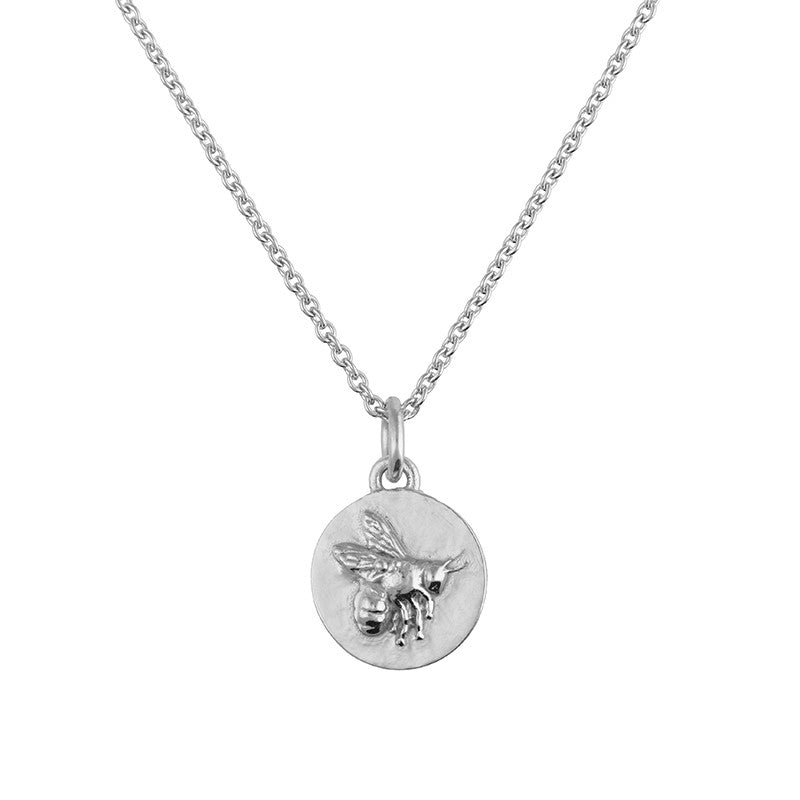 Tiny Silver Flying Bee Coin Necklace
