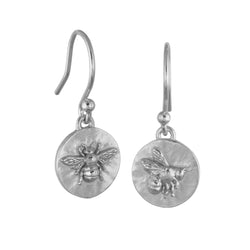 Sterling Silver Flying Bee And Basking Bee Coin Earrings