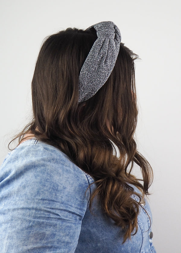 Silver Sparkly Wide Knot Headband