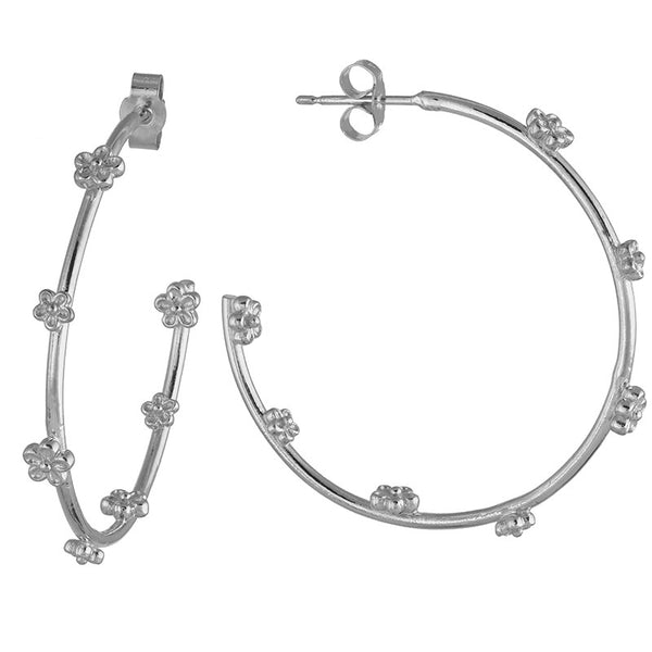 Sterling silver large hoop earrings with small flowers