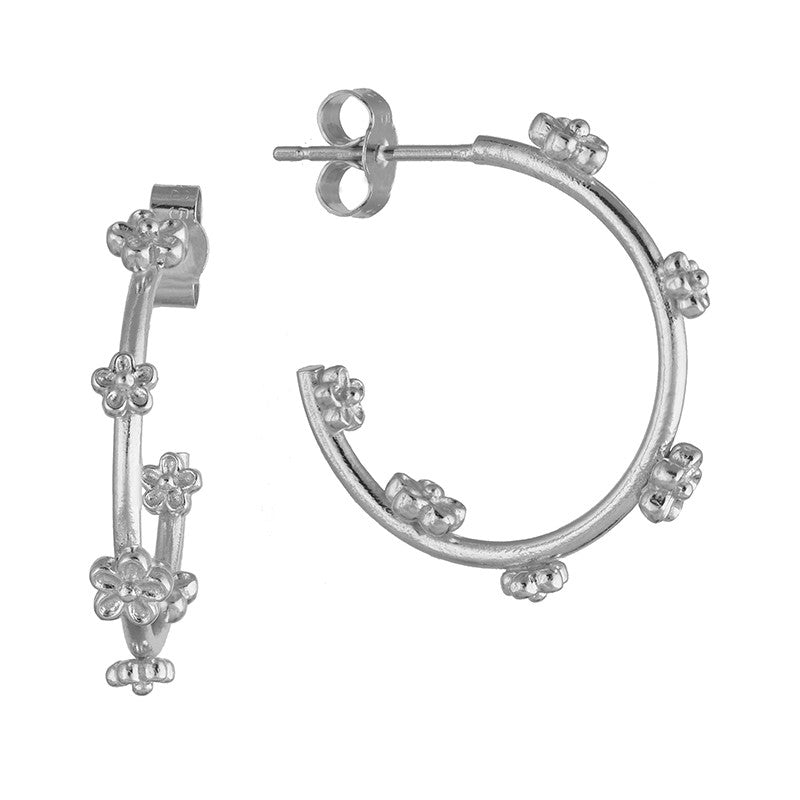 Midi Silver Blossom Flower Hoop Earrings
