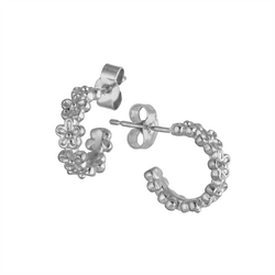 sterling silver tiny flower huggie hoop earrings