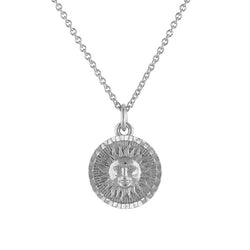 Silver Vermeil Shining Sun Coin Necklace