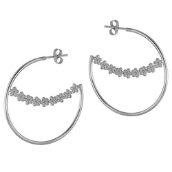 Sterling Silver Maxi Garland Flower Hoops