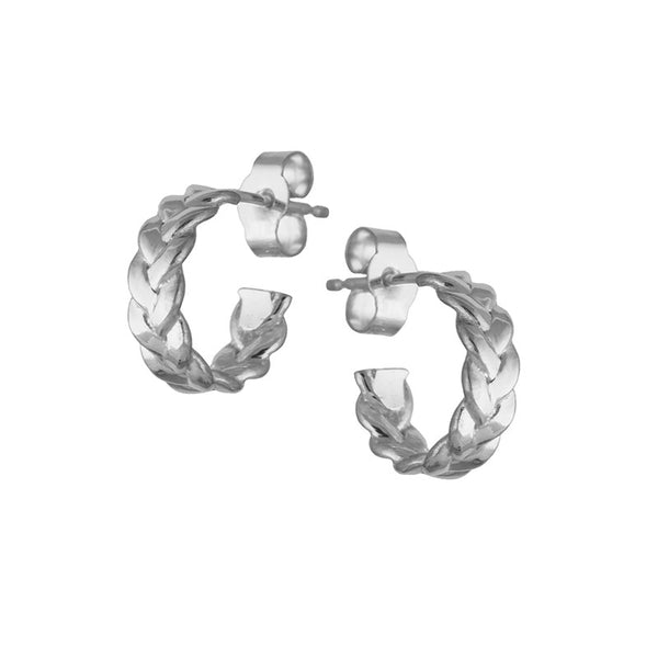 Sterling Silver Plaited Hoop Earrings