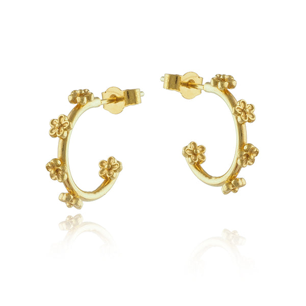 Gold Vermeil Tiny Blossom Flower Hoops