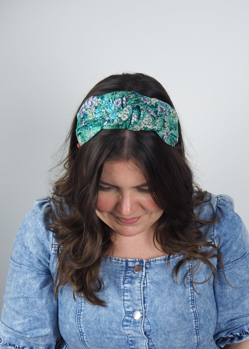 Spring Flowers Jacquard Wide Knot Headband
