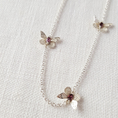 Silver Butterfly Necklace with Tourmaline Gemstones