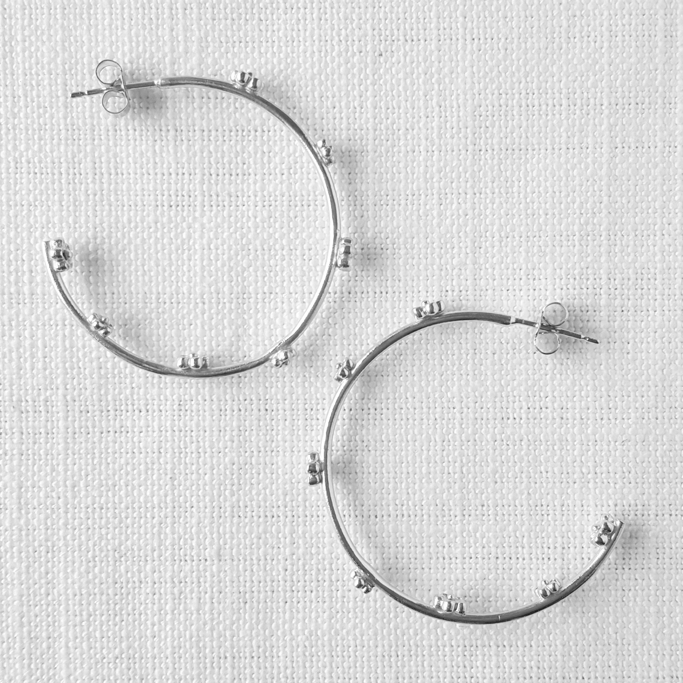Silver Maxi Blossom Flower Hoop Earrings