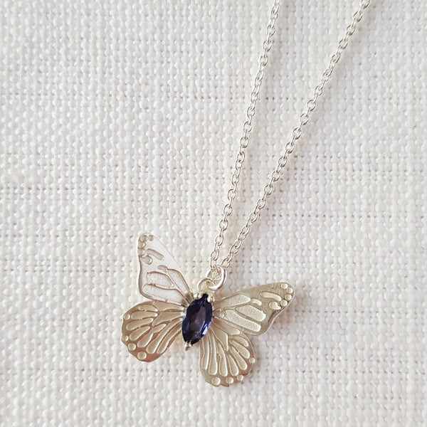 Silver Butterfly Necklace Pendant With Iolite