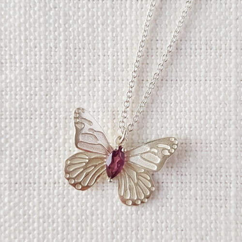 Silver Butterfly Necklace Pendant with Tourmaline