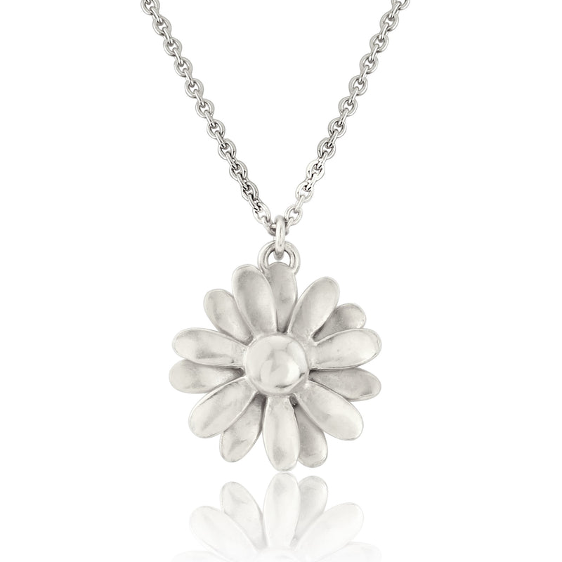 sterling silver daisy flower necklace pendant