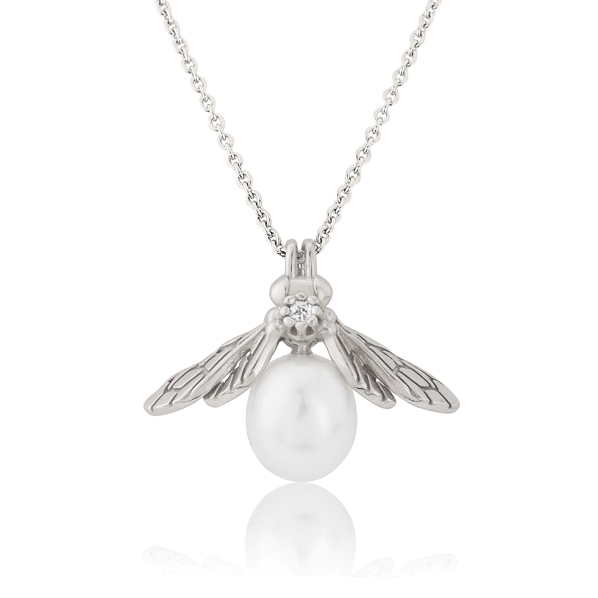 Silver Pearl Bee Pendant Necklace