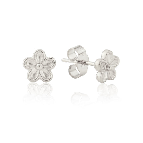Silver Blossom Flower Stud Earrings