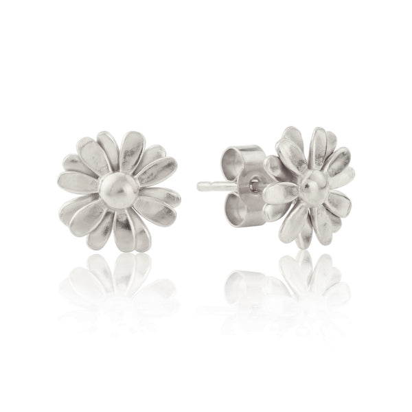 Silver Small Daisy Stud Earrings