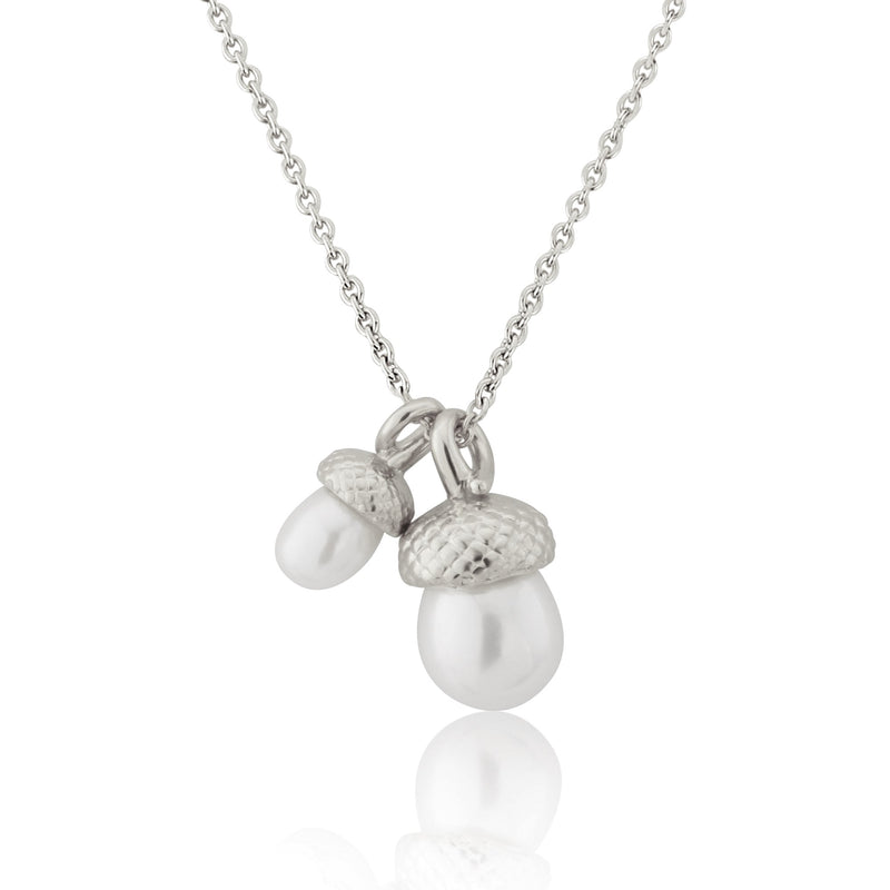 sterling silver Double Pearl Acorn Necklace Pendant