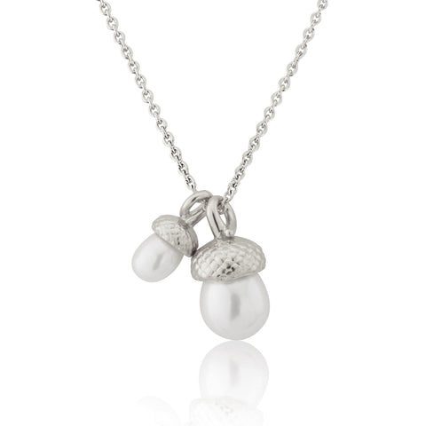Silver Mini Pearl Acorn Necklace