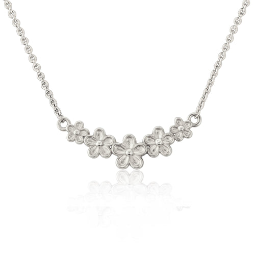 Silver Five Flower Garland Necklace Pendany