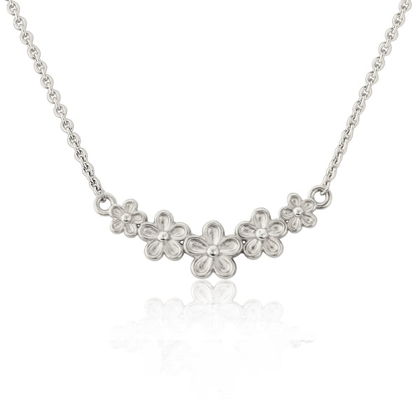 sterling silver small flower bar necklace
