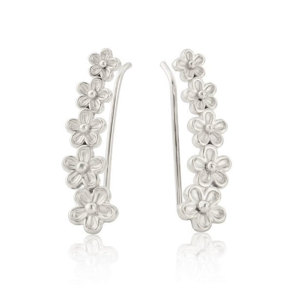 Silver Garland Flower Ear Climbers