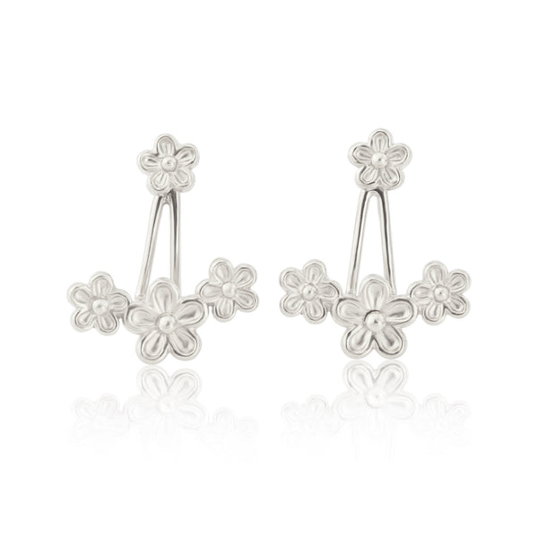 Silver Garland Flower Earring Jackets
