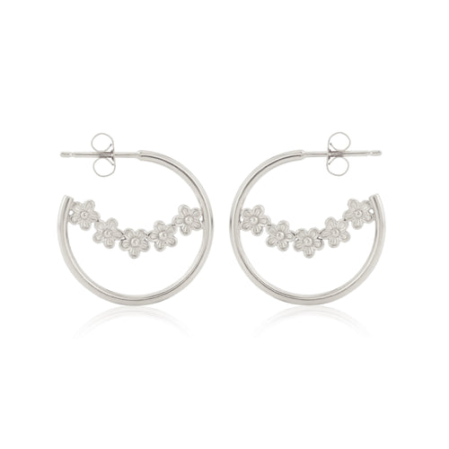 Silver Garland Flower Hoop Earrings