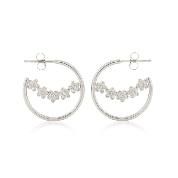 sterling Silver Garland Flower Hoop Earrings