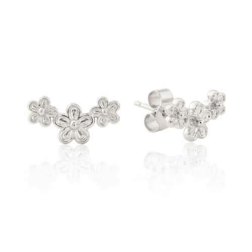 Silver Garland Flower Stud Earrings