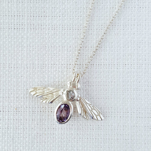 Silver Gemstone Bee Necklace Amethyst White Sapphire
