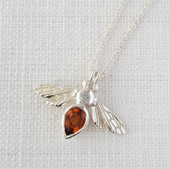 silver Gemstone Bee Pendant Necklace with Citrine and White Sapphire