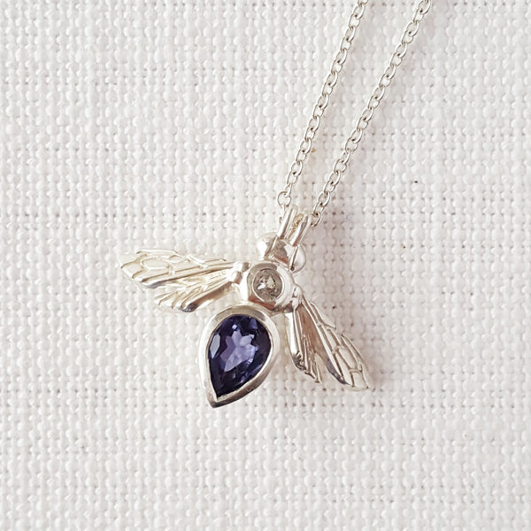 sterling silver pear gemstone bee bumblebee necklace pendant with blue purple Iolite gemstone