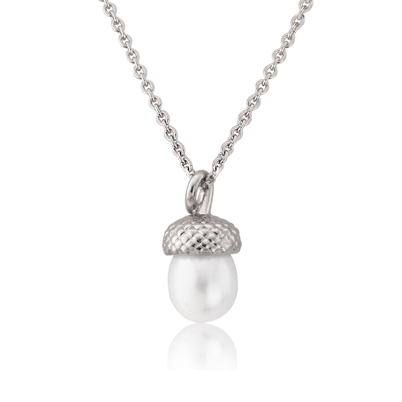 sterling silver pearl acorn necklace pendant