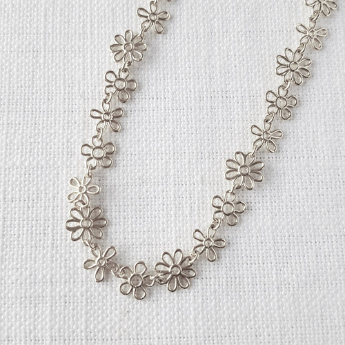 Silver Flower Doodle Necklace