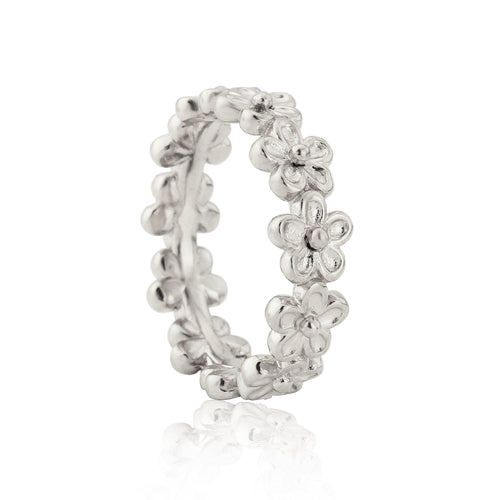 Silver Garland Flower Stacking Ring