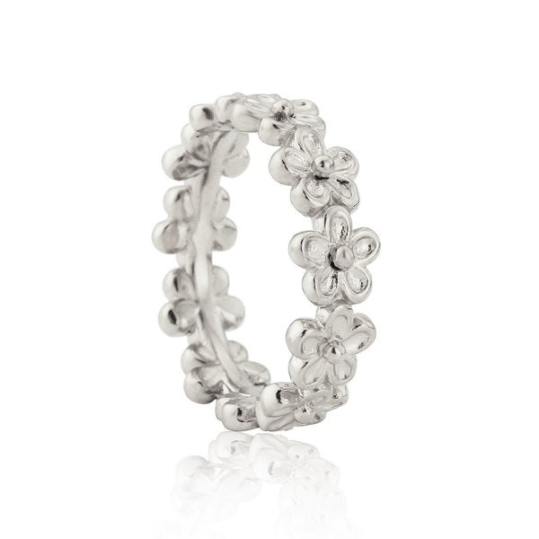 sterling silver tiny flower full eternity stacking ring