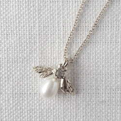 Silver Mini Pearl Bee Necklace