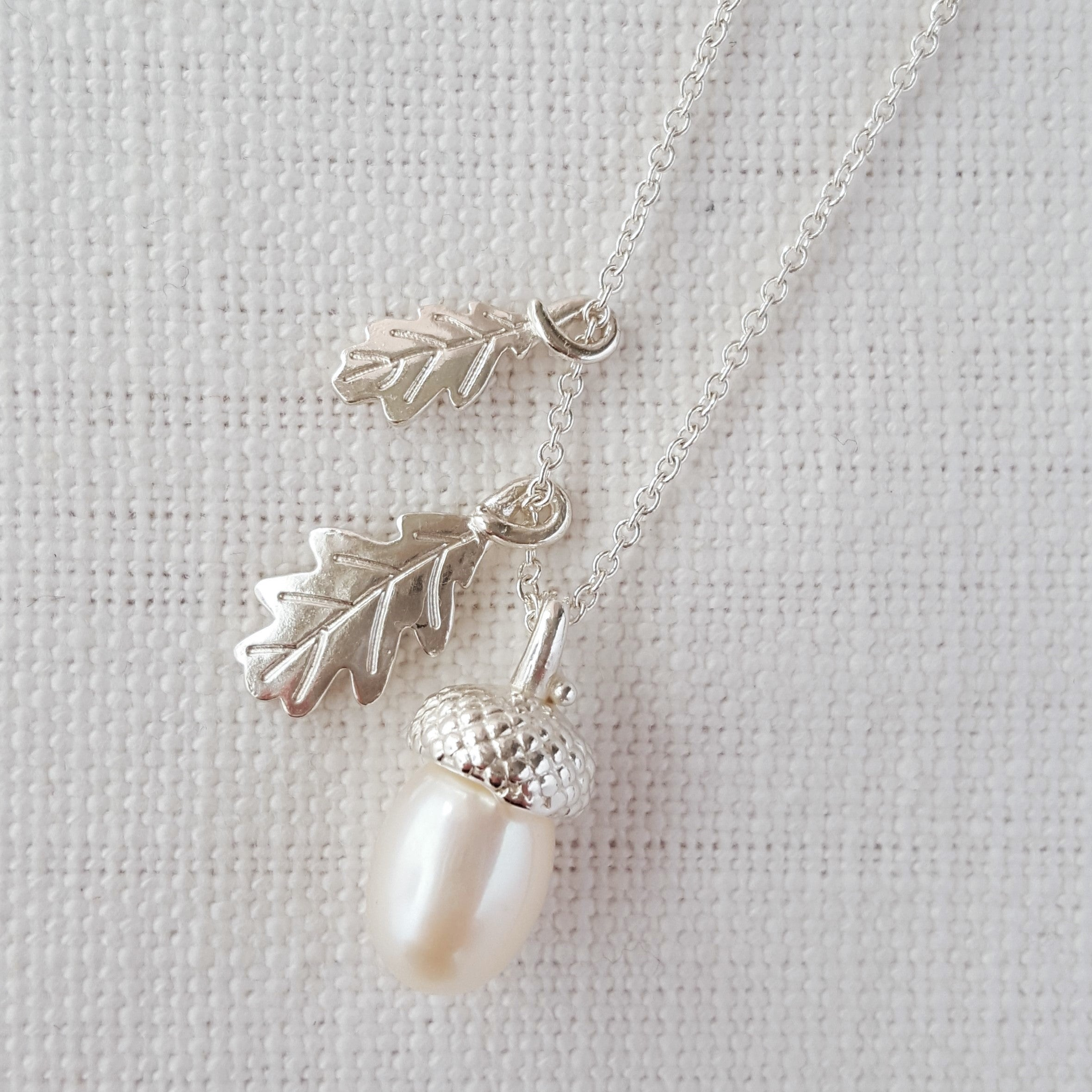 Silver Pearl Acorn With Oak Leaves Necklace Pendant