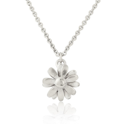 Silver Small Daisy Pendant Necklace