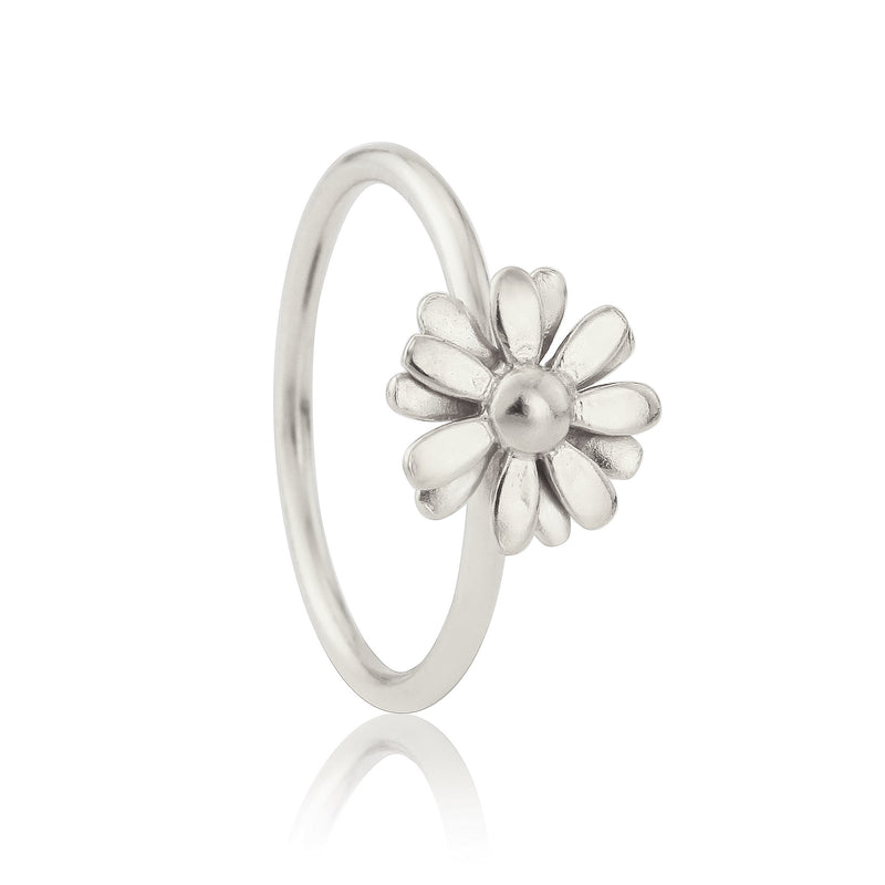 Silver Small Daisy flower Stacking Ring