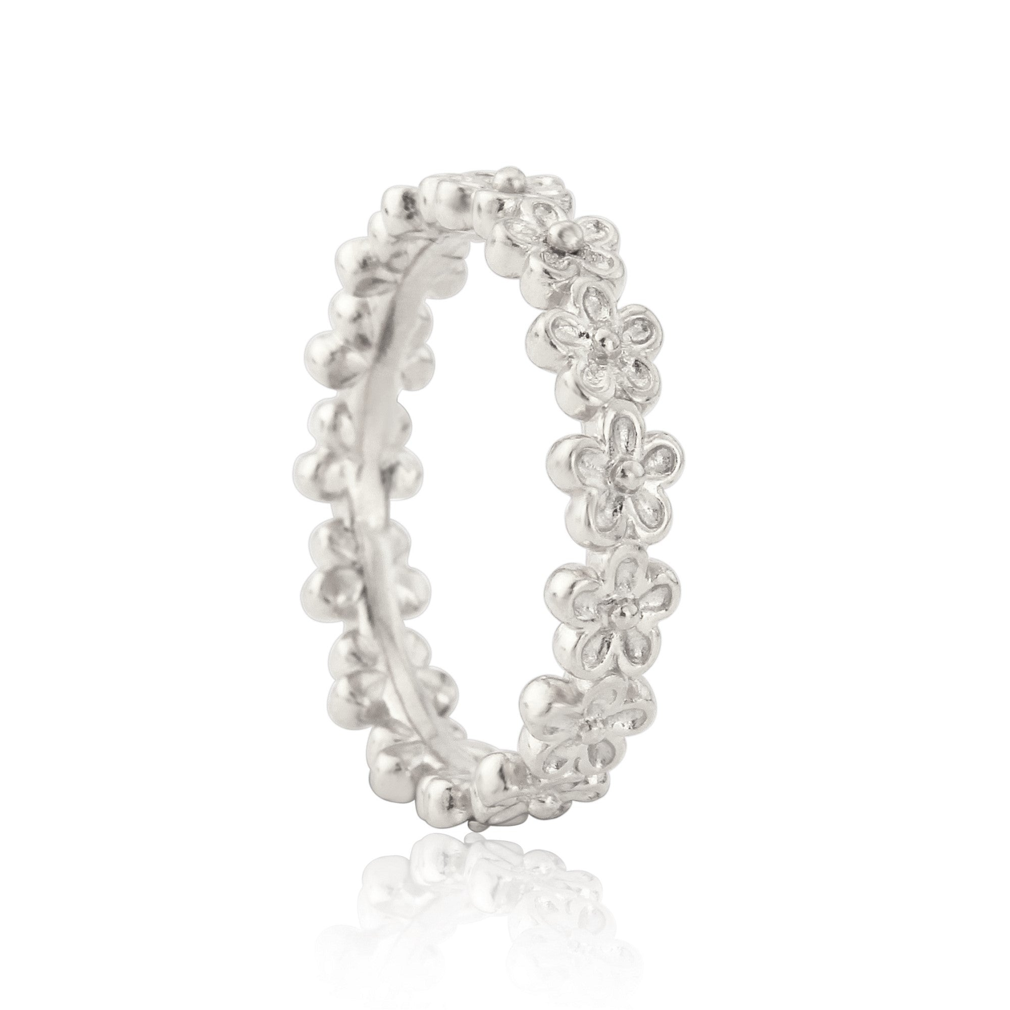 Silver Garland Flower eternity Stacking Ring