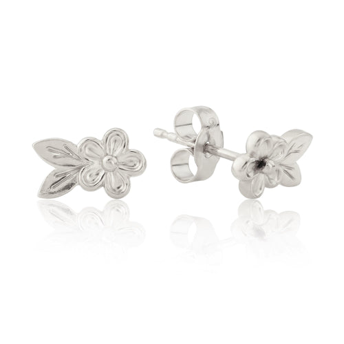 Silver Posy Flower Leaf Stud Earrings