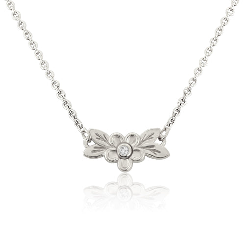 Silver Posy Flower Necklace Pendant