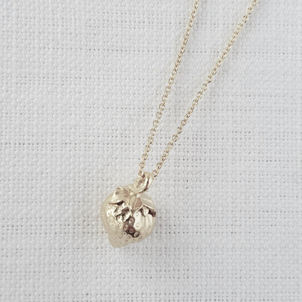 Silver Strawberry Necklace Pendant
