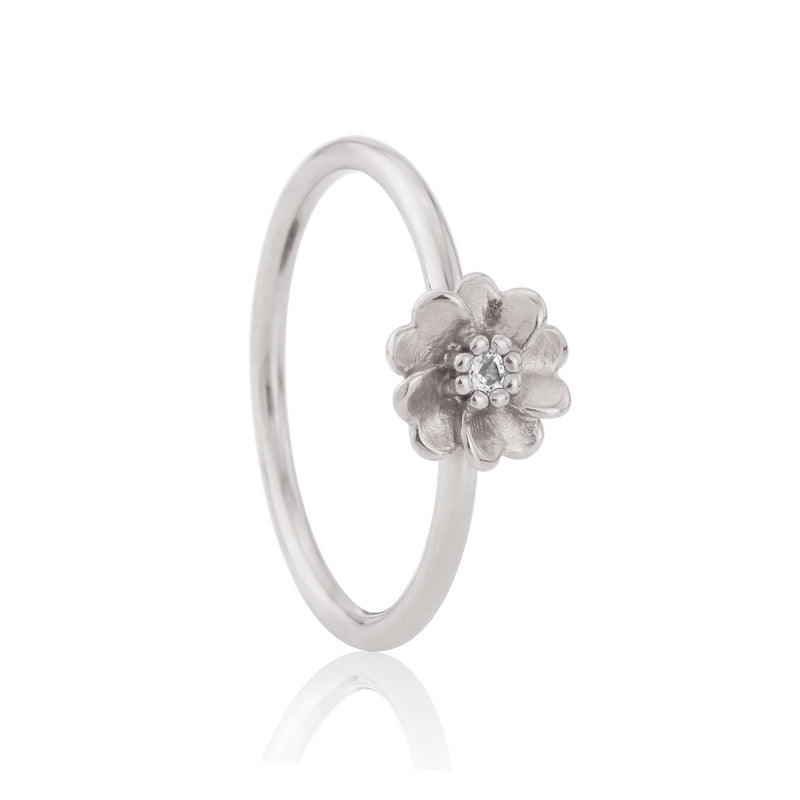 Silver Wild Rose Stacking Ring White Sapphire