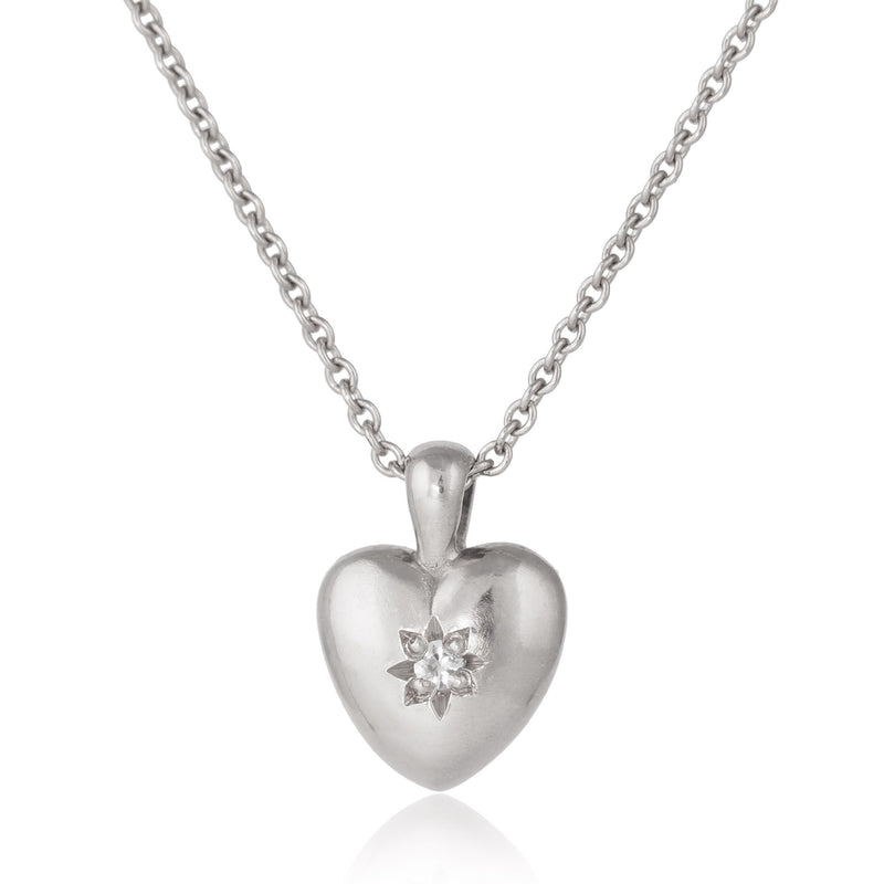 Silver Star Set Heart Necklace