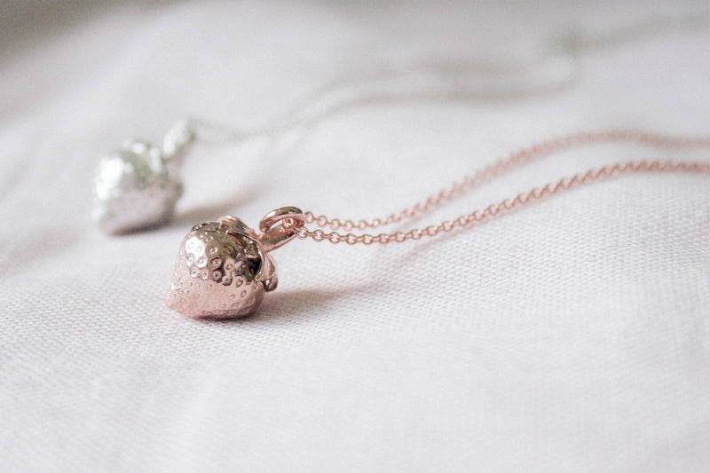 Silver Strawberry Necklace